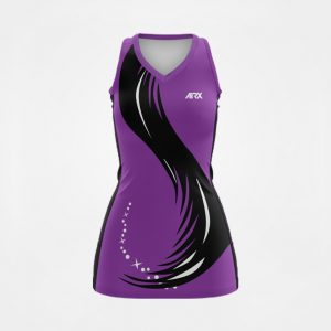 Custom Netball Dress Purple and Black