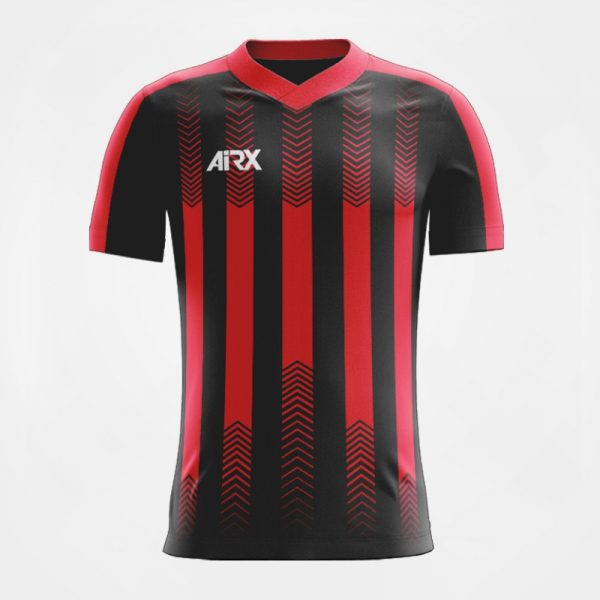 Custom Football Jersey Design Black and Red Front View