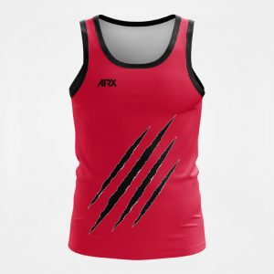 Custom Singlet Claw Design Red and Black Front
