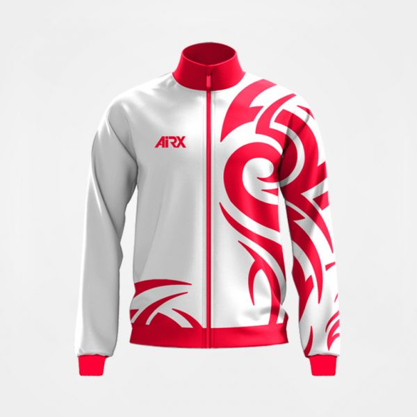 Custom Tracksuit Jacket Red and White Tribal