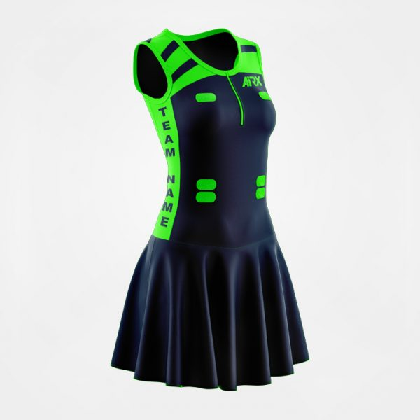 Netball Bodysuit Design Navy and Fluro Green